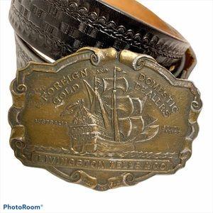 Leather Belt w/Livingston Wells Vintage Buckle